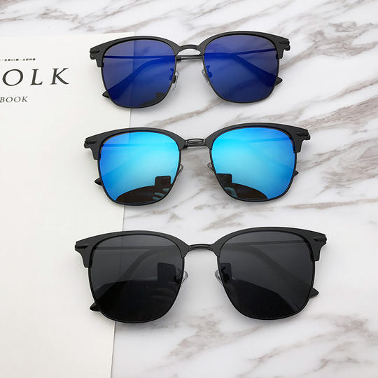 2019 tide person Liu Yang shaking voice network red with the sunglasses half frame metal box polarized sunglasses men and women driving