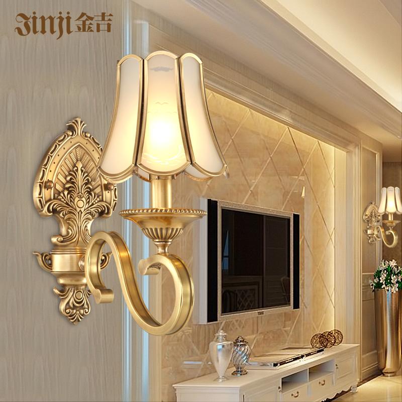 欧式全铜壁灯 美式卧室床头 铜灯温馨客厅电视墙过道走廊楼梯灯