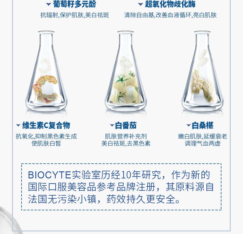 法国Biocyte美白丸全身美白内服脸部去黄淡斑120粒2个月进口正品 产品中心 第14张