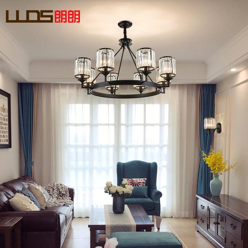 朗朗水晶美式客厅简约卧室灯欧式餐厅灯饰铁艺吊灯灯欧式灯具吊灯