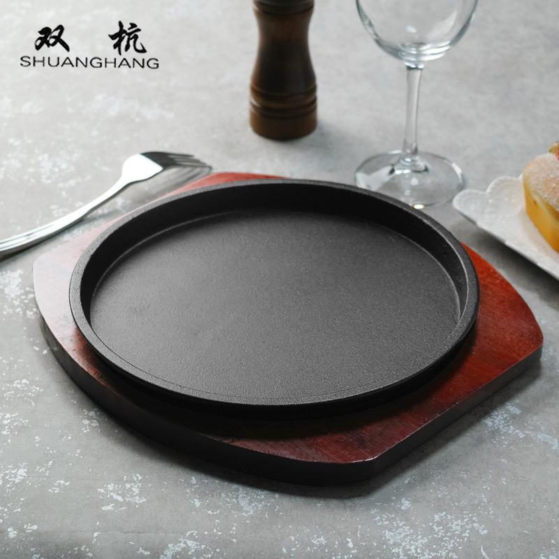 Круглый домой западный еда утюг сжигать блюдо корейский жаркое мясо горшок обжаренный стейк диск палка чугун барбекю блюдо корова гриль блюдо