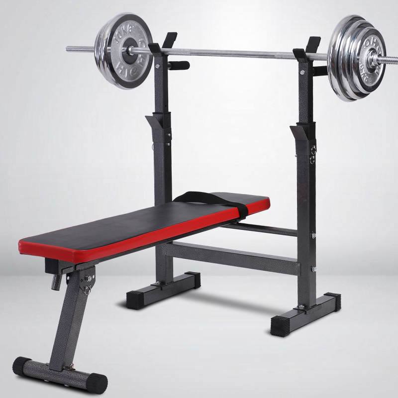 Home Multi Function Bench Press Lifting Bed Folding Squat Rack Barbell Set Fitness Equipment Gym Training