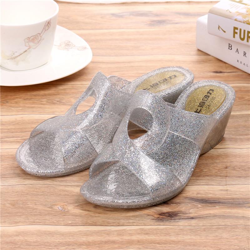 一字水晶女夏季时尚外穿防滑居家回力拖室外厚底中跟坡跟拖鞋拖鞋