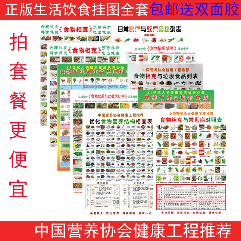 A full set of 10 family health care chart chart Life chart household food gram affordable waterproof diet map