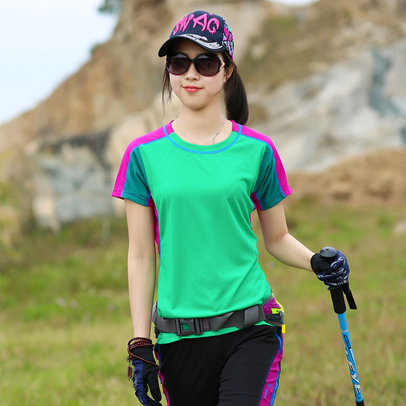 На открытом воздухе короткий рукав быстросохнущие женская одежда T футболки женский tee обтягивающий стройнящий смешанные цвета пот воздухопроницаемый быстросохнущий одежда пот рубашка лето