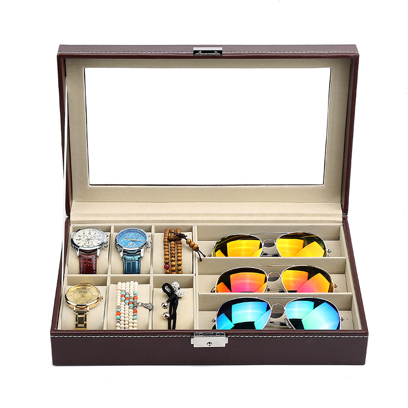 Watch glasses jewelry one box leather sunroof watch box storage box glasses collection box bracelet sorting box