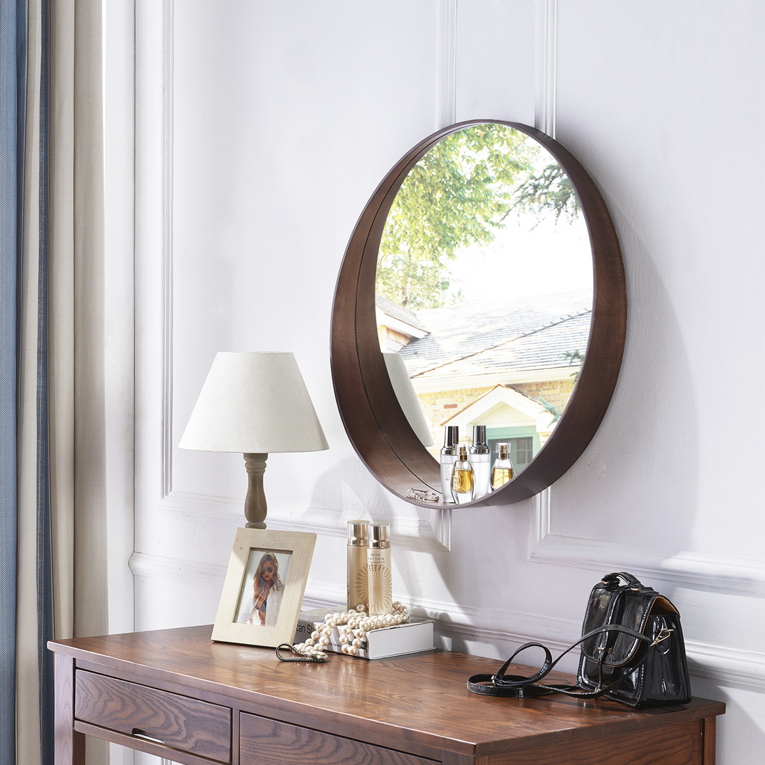 USD 158.25] European style solid wood bathroom mirror bathroom ...