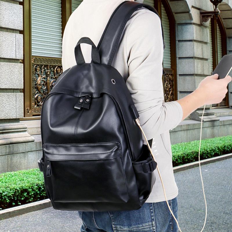 双肩包男书包小号皮质简约学生女英伦背包时尚潮流男士韩版个性