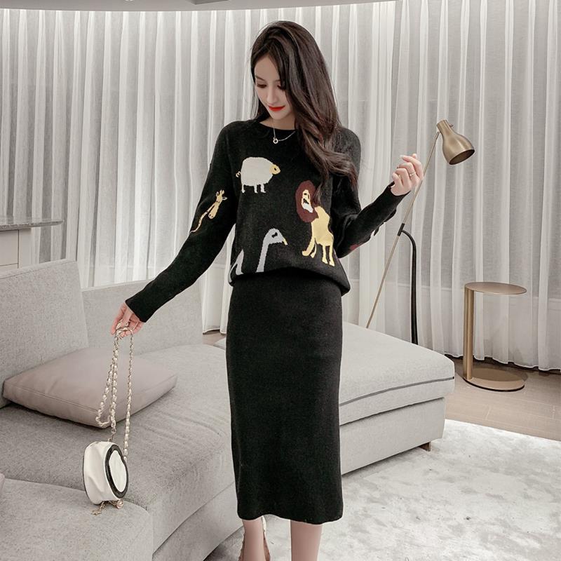 代购上衣动物女2019秋冬毛衣气质件套针织图案包臀套装裙两半身潮