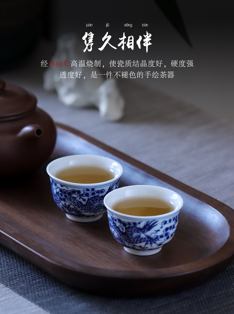Jingdezhen ceramic hand - made of blue and white porcelain dragon small koubei glaze color restoring ancient ways single cup sample tea cup under the kung fu tea set