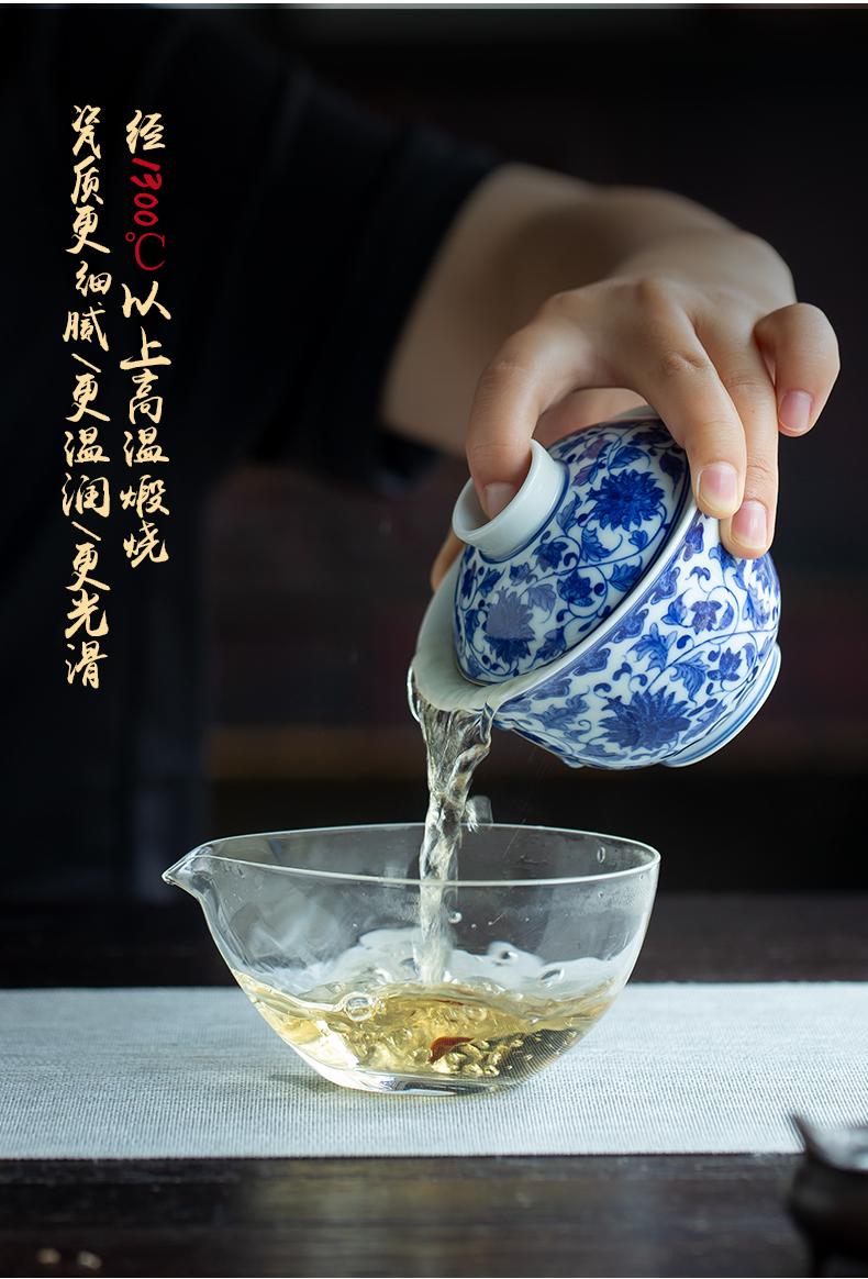 Jingdezhen manual hand - made put lotus flower all three just tureen large tea tea hot tea cup is no use