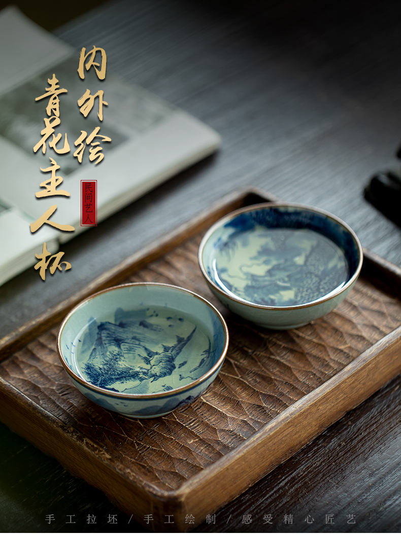 Blue and white made inside and outside the dragon landscape master cup of jingdezhen ceramic manual hand - made single CPU kung fu tea cup clay