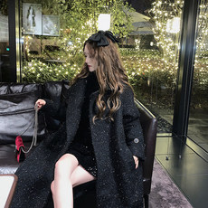 U.v. N small fragrance bright black silk galaxy woolen coat for women's autumn and winter in the long Hepburn style over the knee tweed coat