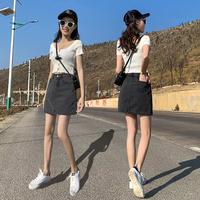 Джинсовый Короткая юбка слово Юбка женская лето 2019 новая коллекция высокая Талия была тонкой пакет Бедра брюки супер огонь пол юбка