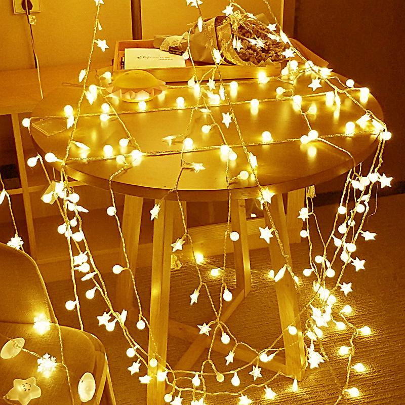 LED фонарь вспышка строка свет в небе звезда комната спальня декоративный свет чистый красная лампа романтический маленькие огни пузырь USB звезда свет