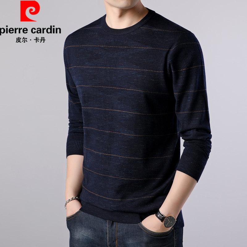 Pierre Cardin mùa thu mới áo thun dài tay nam trẻ trung và cổ tròn áo len cashmere mỏng sọc áo thun nam thoải mái - Áo phông dài