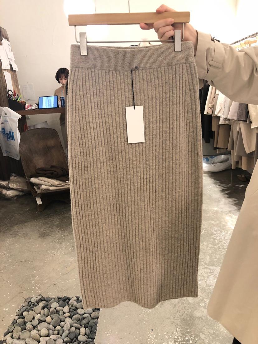 韩国东腰包2019秋冬新款半身大门高螺纹臀纯色后开衩针织松紧裙女