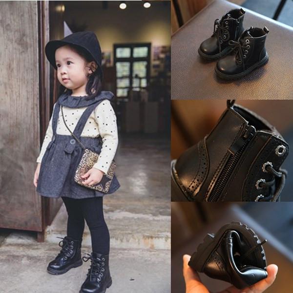 黑色马丁靴短靴春秋单靴靴子军靴男童儿童真皮雪地女童公主棉鞋靴