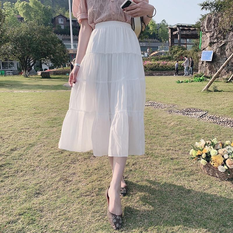 Xiaoyuyu mới 2020 mùa hè phiên bản Hàn Quốc của phụ nữ hoang dã khâu lỏng lẻo xếp li dài một nửa váy váy váy thủy triều nữ - Váy