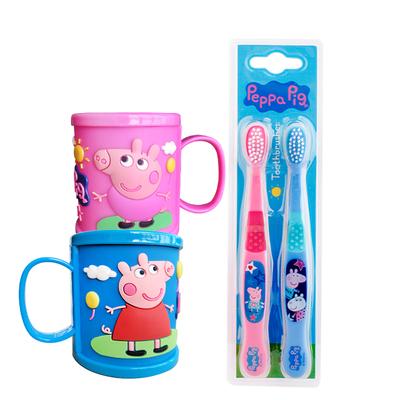 宝宝牙膏可吞咽儿童牙刷3到4-5-6-10-12岁以上软毛卡通漱口杯套装