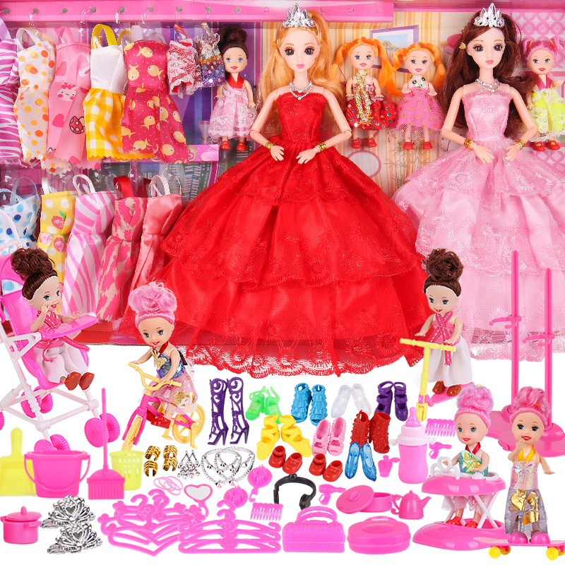 仿真芭比洋娃娃套装礼盒公主女孩过家家玩具儿童礼物婚纱换装包邮