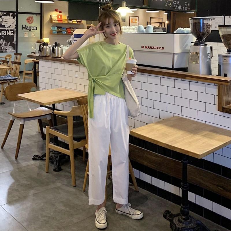 套装直筒裤女韩版chic超人t恤女外穿衣服女社会a套装短袖哈果超薄