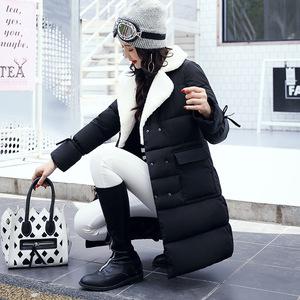 冬装新款韩版羊羔毛翻领羽绒棉服女中长