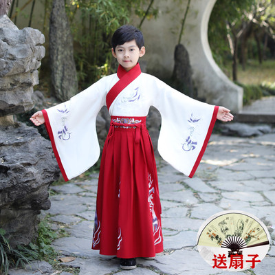 Boy hanfu chinese style ancient swordsman costume children Tang suit boy traditional Chinese costume little schoolboy performance costume