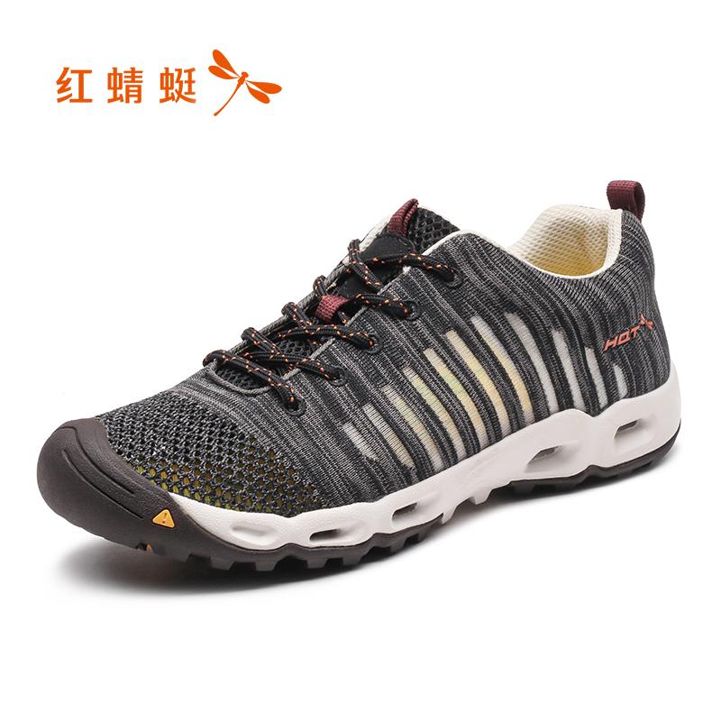 红蜻蜓2018新款男鞋夏季透气网面包头系带运动跑步户外鞋休闲网鞋