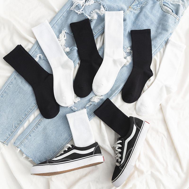 黑色袜子女中筒袜运动风薄款夏季ins潮纯棉街头纯色秋冬长筒袜男