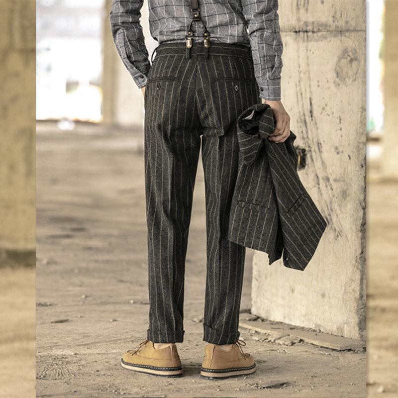新款阿美厚面料条纹呢西裤羊毛长裤男士修身直同复古v面料秋冬大码
