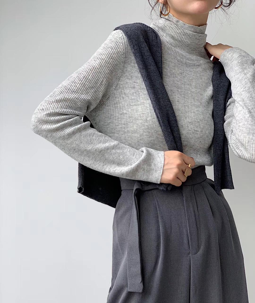 韩国百搭高弹薄款羊毛毛衣针织衫2019纯色新款修身秋冬套头高领女