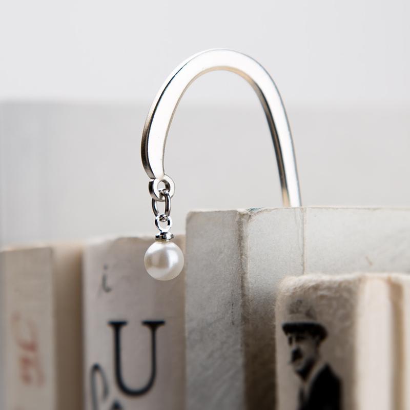 Закладка для книг Германия современные листьев закладка творческий металла нержавеющей стали/серебро жемчуг закладка пользовательские выпускной подарок