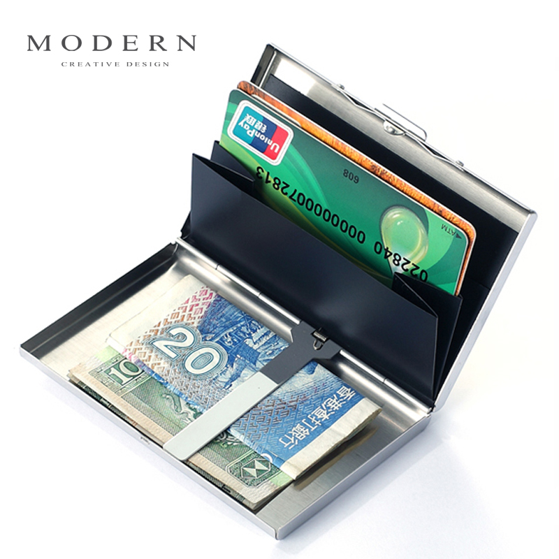USD 38.88] Germany modern genuine Mens metal credit card holder bank ...