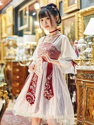 【十三余 小豆蔻儿】[太平金凤]刺绣假两件系带绣花连衣裙夏季女