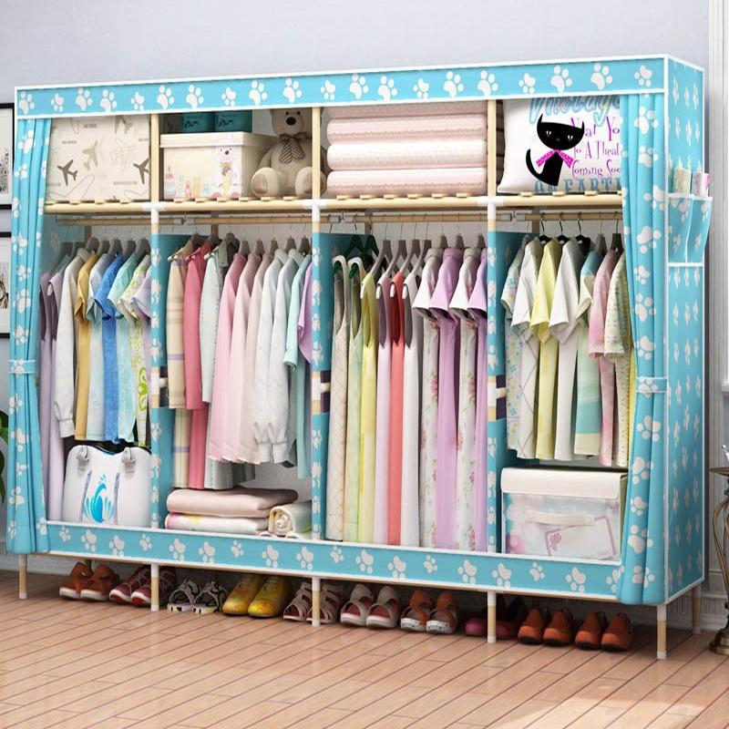 Двойной легко гардероб ткань дерево фирма простой современный экономического типа спальня сложить хранение хранение кабинет сборка