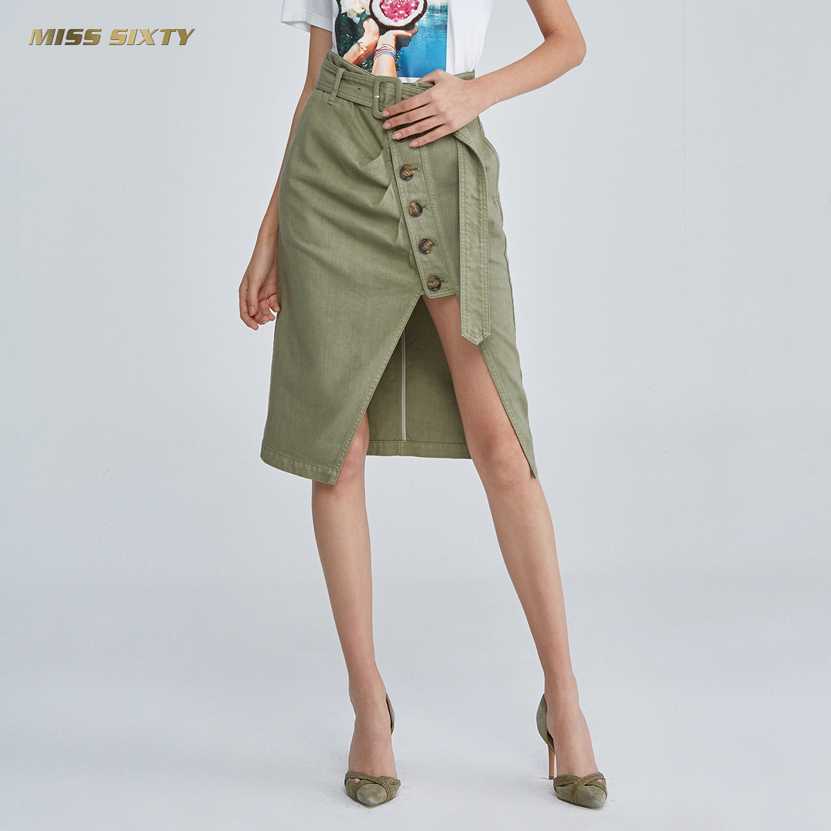 C Miss Sixty2018新款夏季排扣高腰長裙牛仔半身裙女682KJ1830000