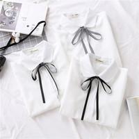 2020 демисезонный новая коллекция замшевый бантики узел шифон белый сорочка женщина длинный рукав Нижняя JK равномерное занятие верх одежда
