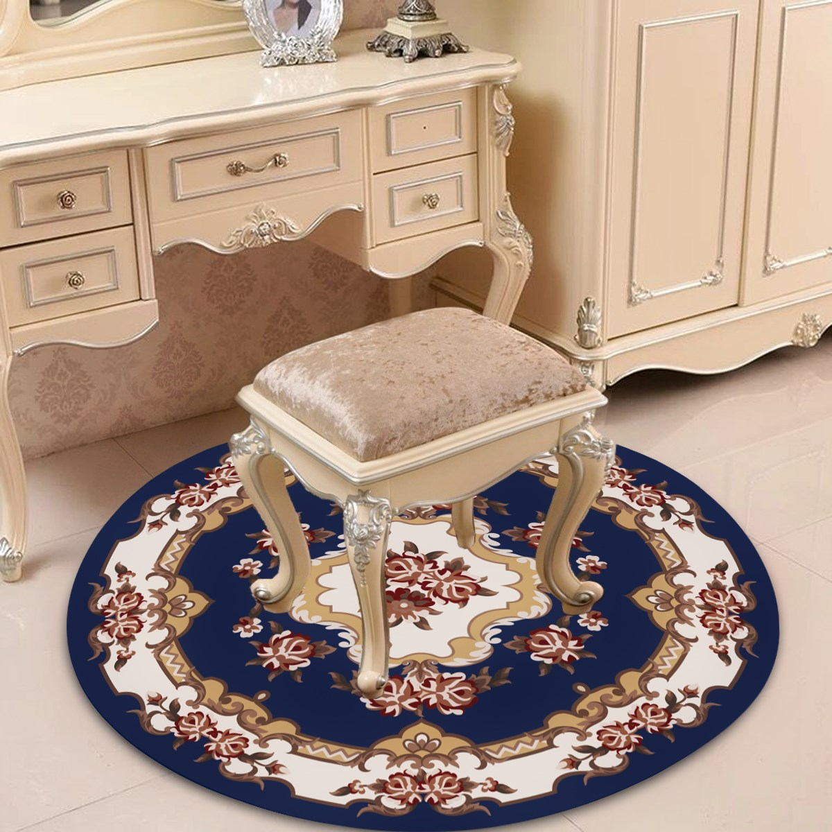 椅垫书房欧式现代电脑客厅毯地垫圆形吊圆形子地毯椅垫卧室茶几