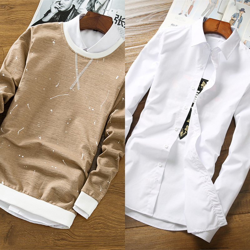 We865 khaki (no plus velvet) + white shirt