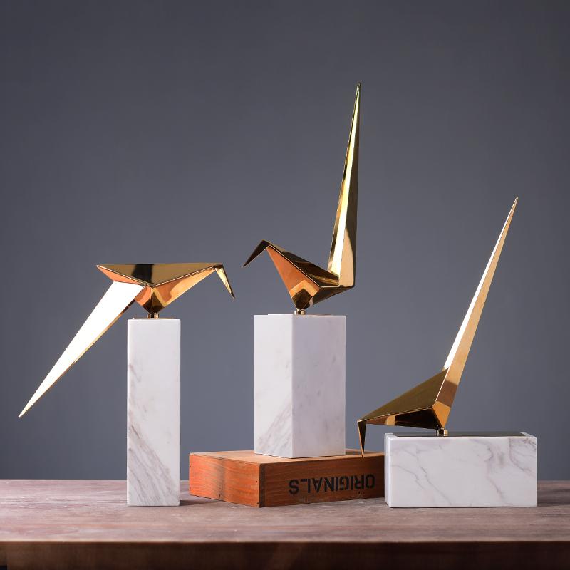 北欧风格大理石金属鸟摆件金色现代简约艺术室内软装设计师装饰品