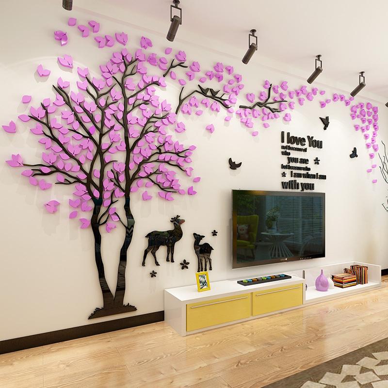 贴纸树亚克力3d墙壁墙贴客厅背景电视沙发墙面立体卧室装饰创意画