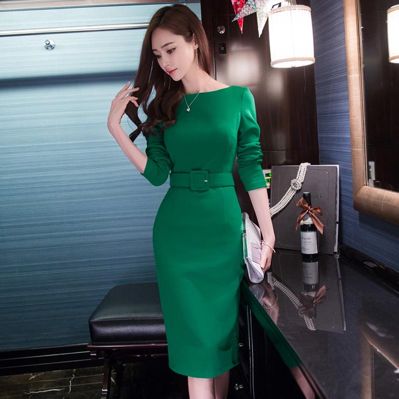 2019秋冬女新款显瘦长袖绿色连衣裙时尚修身气质包臀中长款一步裙
