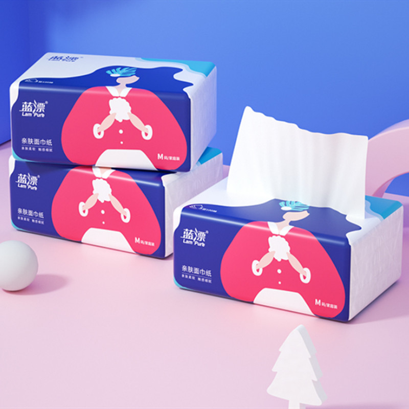 蓝漂面巾抽纸大号装100抽*3包实惠家庭婴儿餐巾纸面巾纸卫生纸