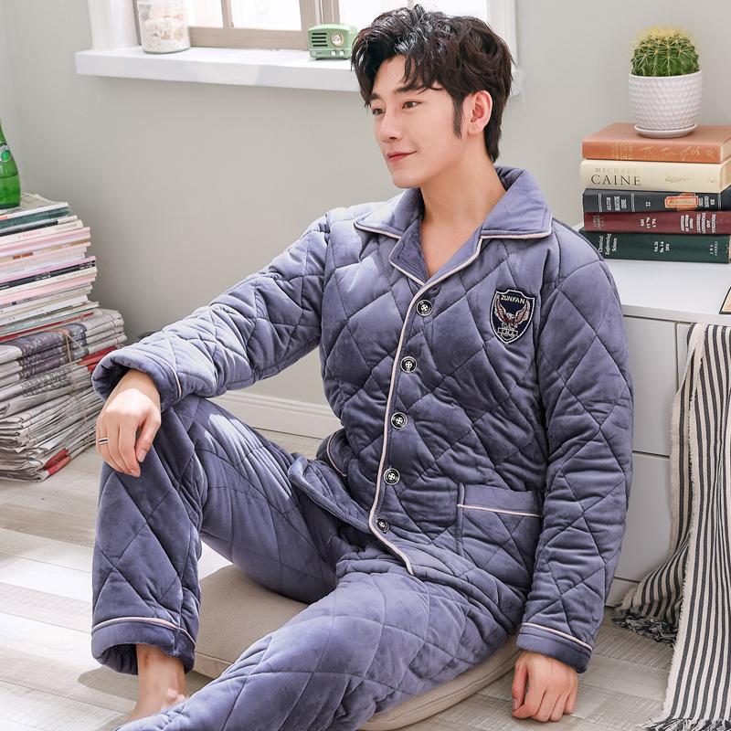 珊瑚男冬季三层加厚加绒睡衣绒夹棉套装法兰绒男士家居服秋冬款