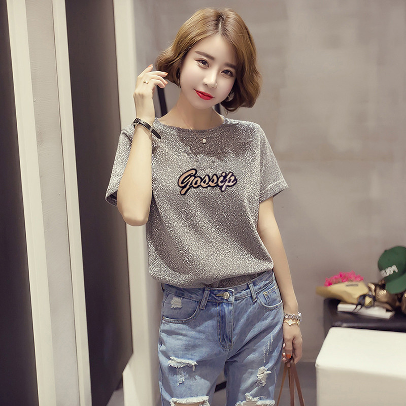 [USD 37.07] 2018 Korean version summer New Style Fashion sequins letters bright Silk T-Shirt ...