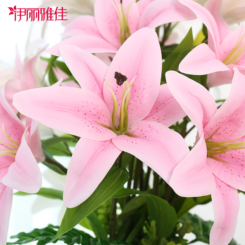 USD 12.99] Fake flower Lily simulation bouquet single living room ...