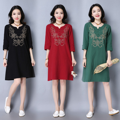 Spring and Autumn new national wind women's retro Republic Slim embroidery V-neck long buckle cotton dress