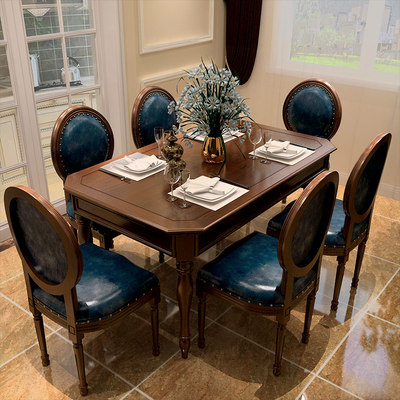 American country solid wood table chair combination 6 people eat table rectangular rice table small home table