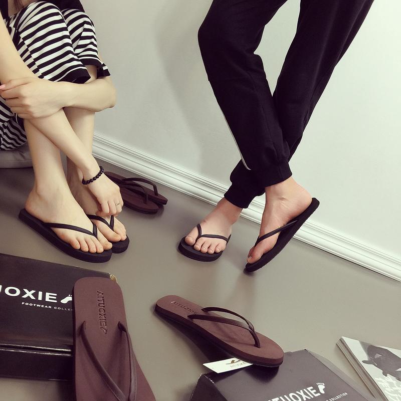 8c88e1ef6f04 Couple flip-flops female summer fashion wear non-slip flat simple Korean  version of the tide male beach sandals sandals